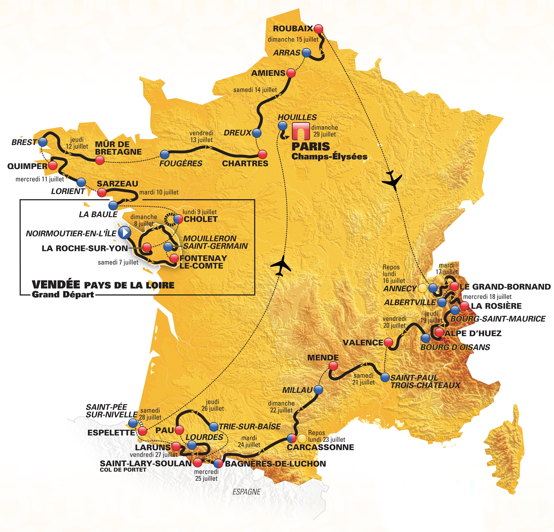 carte du tour de france 2018 tapes et parcours en vid o. Black Bedroom Furniture Sets. Home Design Ideas