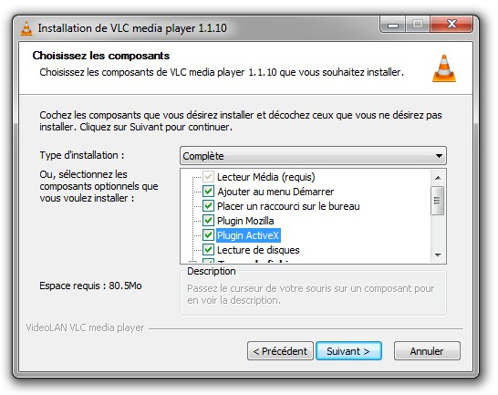 Installer le plugin VLC ActiveX